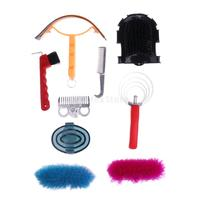 9pcs Horse Grooming Kit Set Equestrian Supplies Horse Brush Curry Combs Tool