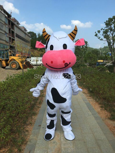 New White And Black Milk Cow Mascot Costume Halloween Christmas Fancy Dress Adult Suit Size