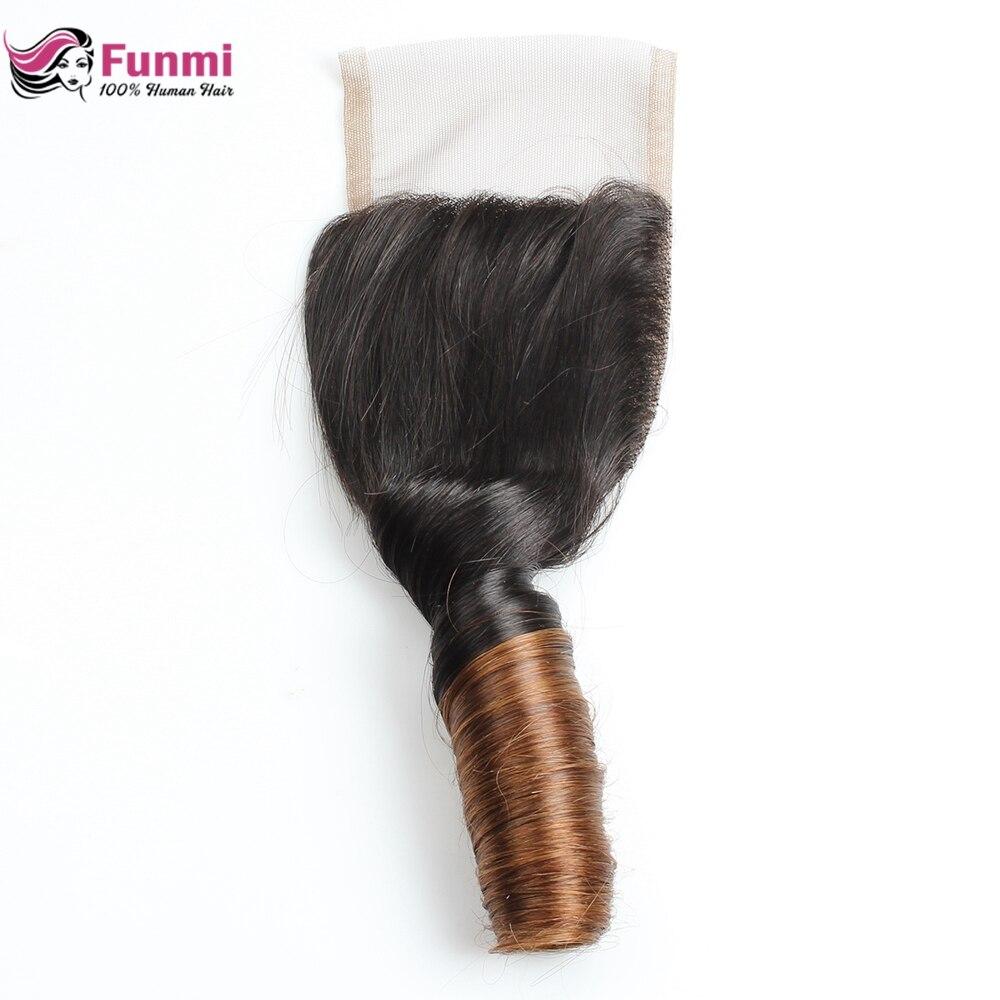 Funmi Hair Brazilian Virgin Hair Closure 4 4 Bouncy Curly Closure Ombre Human Hair Lace Closure