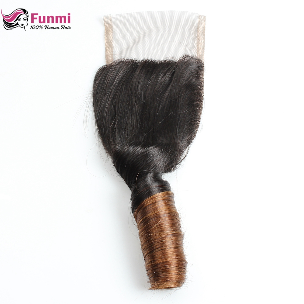 Funmi Hair Brazilian Virgin Hair Closure 4*4 Bouncy Curly Closure Ombre Human Hair Lace Closure With Baby Hair Ombre Closure