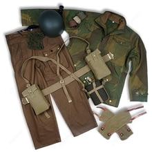 WW2 британское армейское снаряжение р37 дернисон куртка и брюки с чайником и UK MK2 шлем