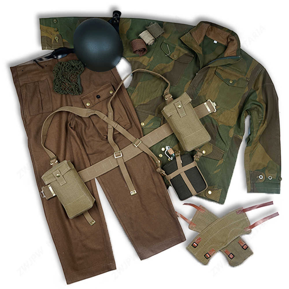 8d2688bf269db WW2 BRITISH ARMY EQUIPMENT P37 DERNISON JACKET AND PANTS WITH KETTLE AND UK  MK2 HELMET