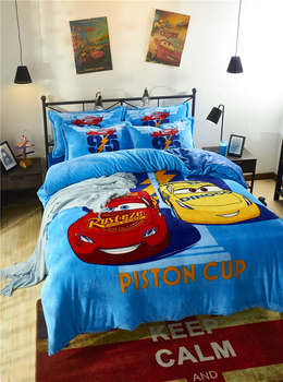 двухместная кровать для мальчиков | Синий фланелевый Комплект постельного белья Mc Queen Cars с 3D принтом, для детей, для мальчиков, для спальни, мягкий, теплый