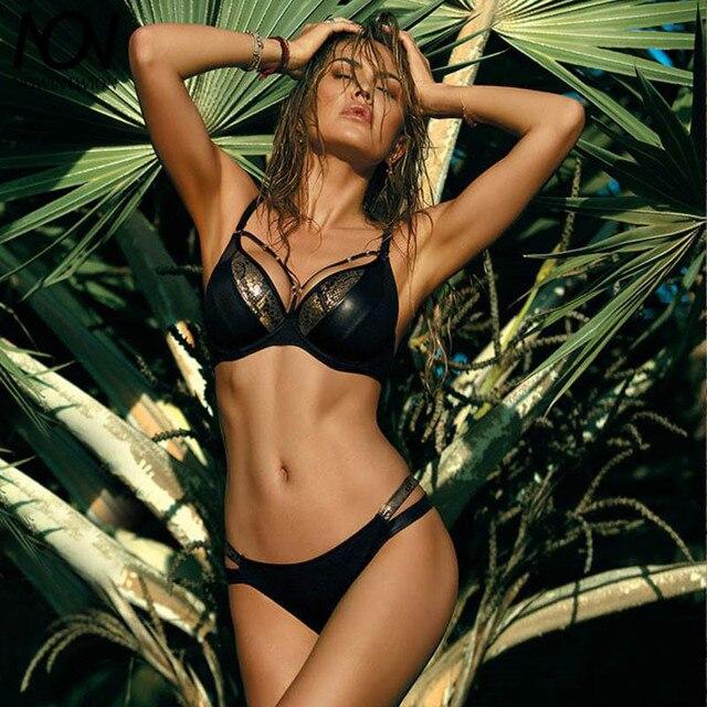 Sexy Bikini 2019 Swimsuit Women Swimwear Bikini Set Push Up Swim Suit Snake Skin Splicing Backless Bandage Swimwear Women 6
