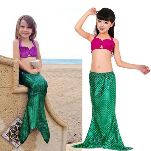 Baohulu 3pcs Set Girl Kids Mermaid Tail Cosplay Swimmable Swimwear Swimsuit Girls Bikini Set Bathing Suit Fancy Costume Clothes Strong Packing Mother & Kids