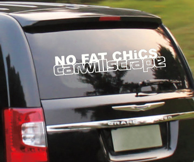 Printing words no fat chicks car decor decals art auto car sticker best decor for your
