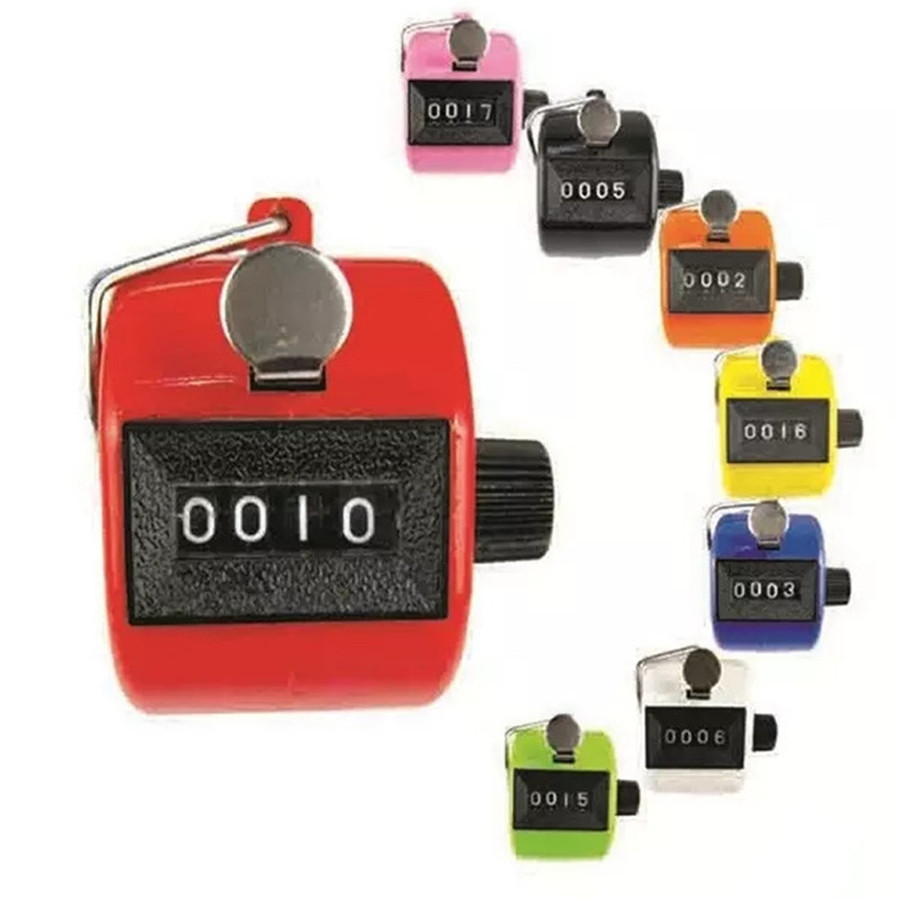 Digital Hand Held Tally Clicker Counter 4 Digit Number Clicker Golf Chrome Finger Hand Ring Knitting Row Tally Counter Pedometer round base black reset knob 4 digit silver tone hand tally counter w finger ring