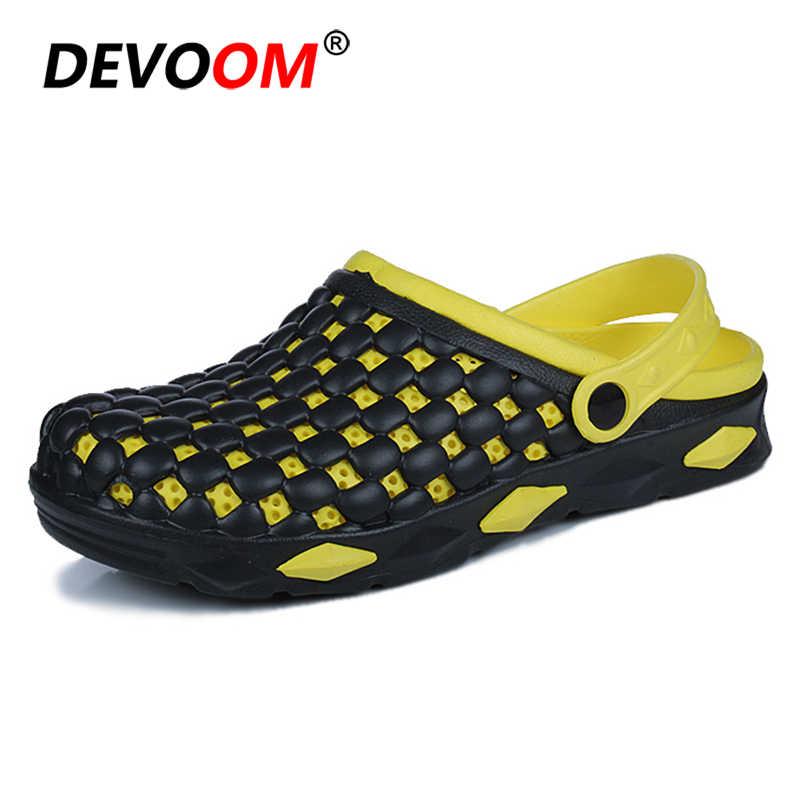 bdb0f466f 2018 модные пляжные шлепанцы для мужчин песка тапочки Для мужчин сад обуви  обувь для ходьбы воды