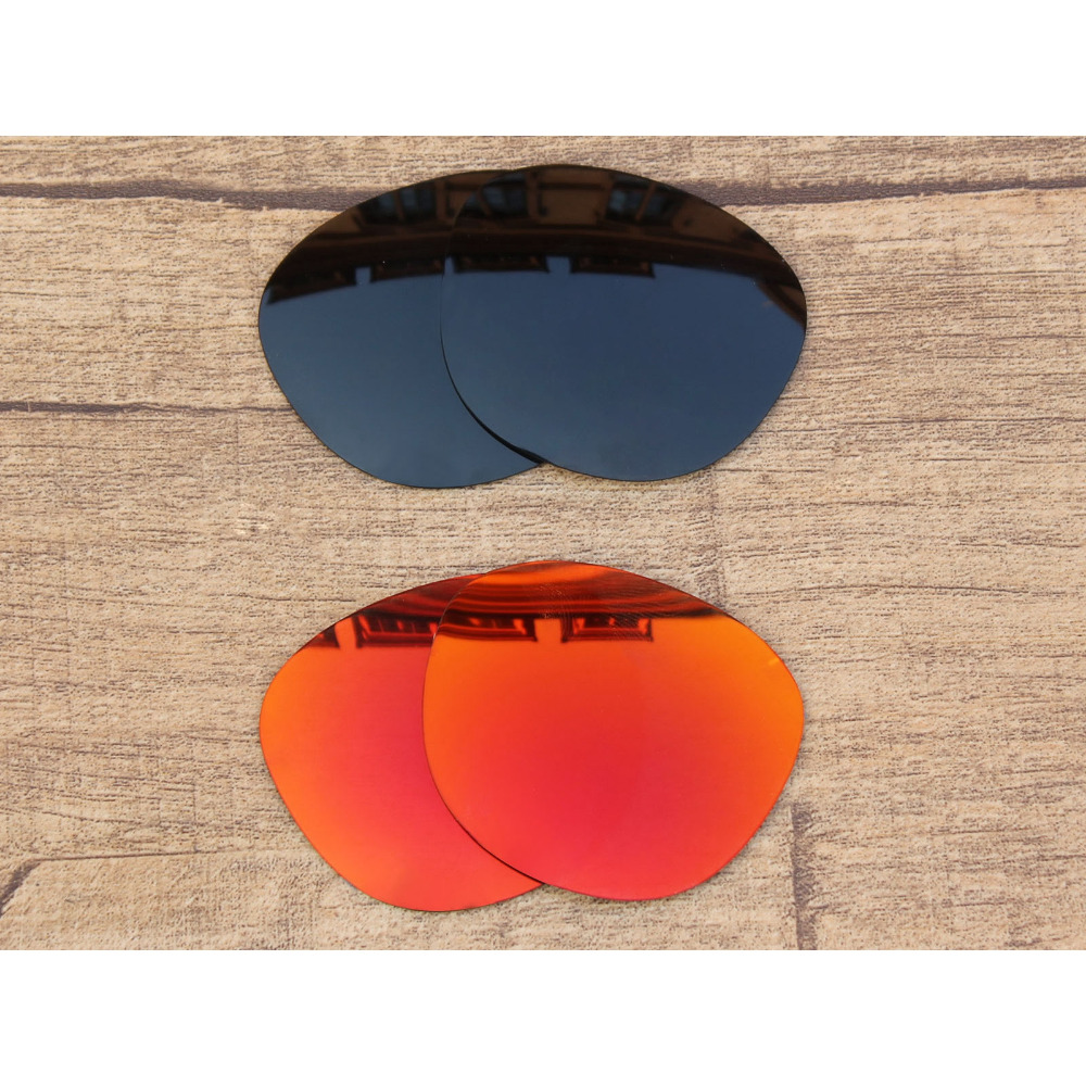 Vonxyz 2 Pairs Stealth Black & Ruby Mirror Polycarbonate Replacement Lenses For-Oakley Garage Rock Frame