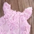 2016 Verão Rosa Menina Do Laço Da Flor Do Bebê Recém-nascido Bodysuit Macacão Roupas Embelezado Folwer Menina Bodysuit
