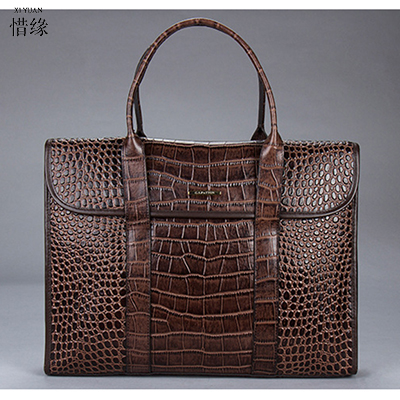 XIYUAN BRAND new high quality luxury men's cow Genuine leather portable computer laptop bags briefcase crocodile pattern handbag the new high quality imported green cowboy training cow matador thrilling backdrop of competitive entrance papeles