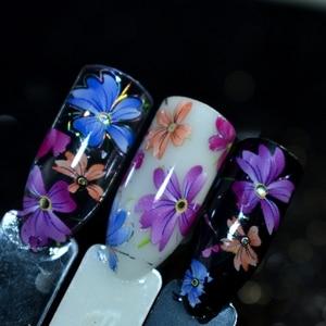 Image 2 - Nail Art Flower Decal Foil Image Transfer Spirit Wild flower Sticker Foil Easy DIY Manicure Decoration Roll in clear jar 1m