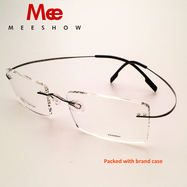 d65b7771b5 Meeshow Prescription glaaaes Rimless Women Men eyeglasses Spring 100% pure  titanium Eyeglasses Myopia Optical Frame with case