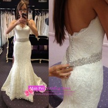Romantic Sexy Sweetheart Sleeveless With Beading Sash Long White Lace Mermaid Wedding Dress 2015 Vestido De Casamento MF319