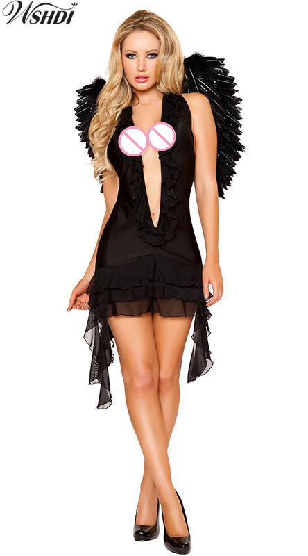 Hot Sale Black White Sexy Angels Costume Adult Women Halloween Party Cosplay Fallen Angel Fancy Dress With Angel Wings