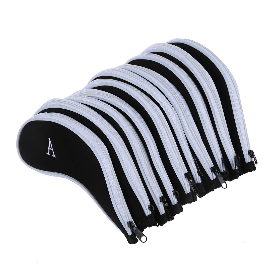 10 pcs Golf Club Iron Putter Head Cover HeadCovers Protect Set Fit for All Brands and Sizes Iron Golf Club Head White