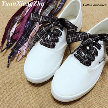 1Pair British Style Plaid Shoelaces Cotton And Linen Sneaker Sports Casuals Shoes Lace Length 60/80/100cm For Men Women Shoelace