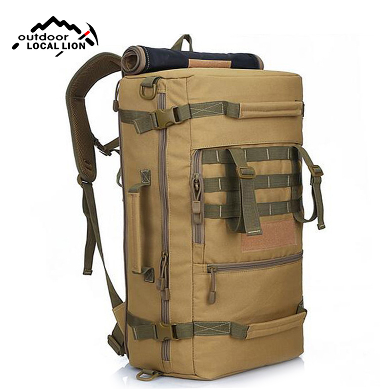 Military Canvas Backpack Men Multifunctional Travel Bags Large Solid Color Sports Molle Backpacks Tactical Shoulder Bag XA157WA