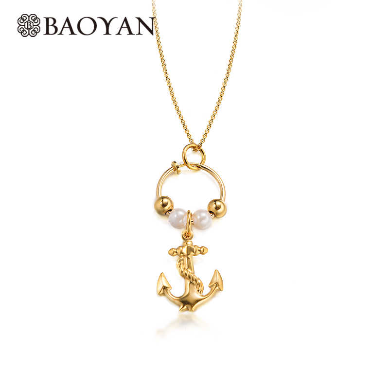 Baoyan Gold Chain Stainless Steel Necklaces fashion 2019 Pearl beaded Anchor Pendants Statement Women's Necklace Boho Jewelry