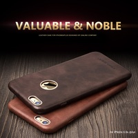 2015 QIALINO Calf Skin Genuine Leather Back Case For IPhone 6 4 7 Protective Golden Frames