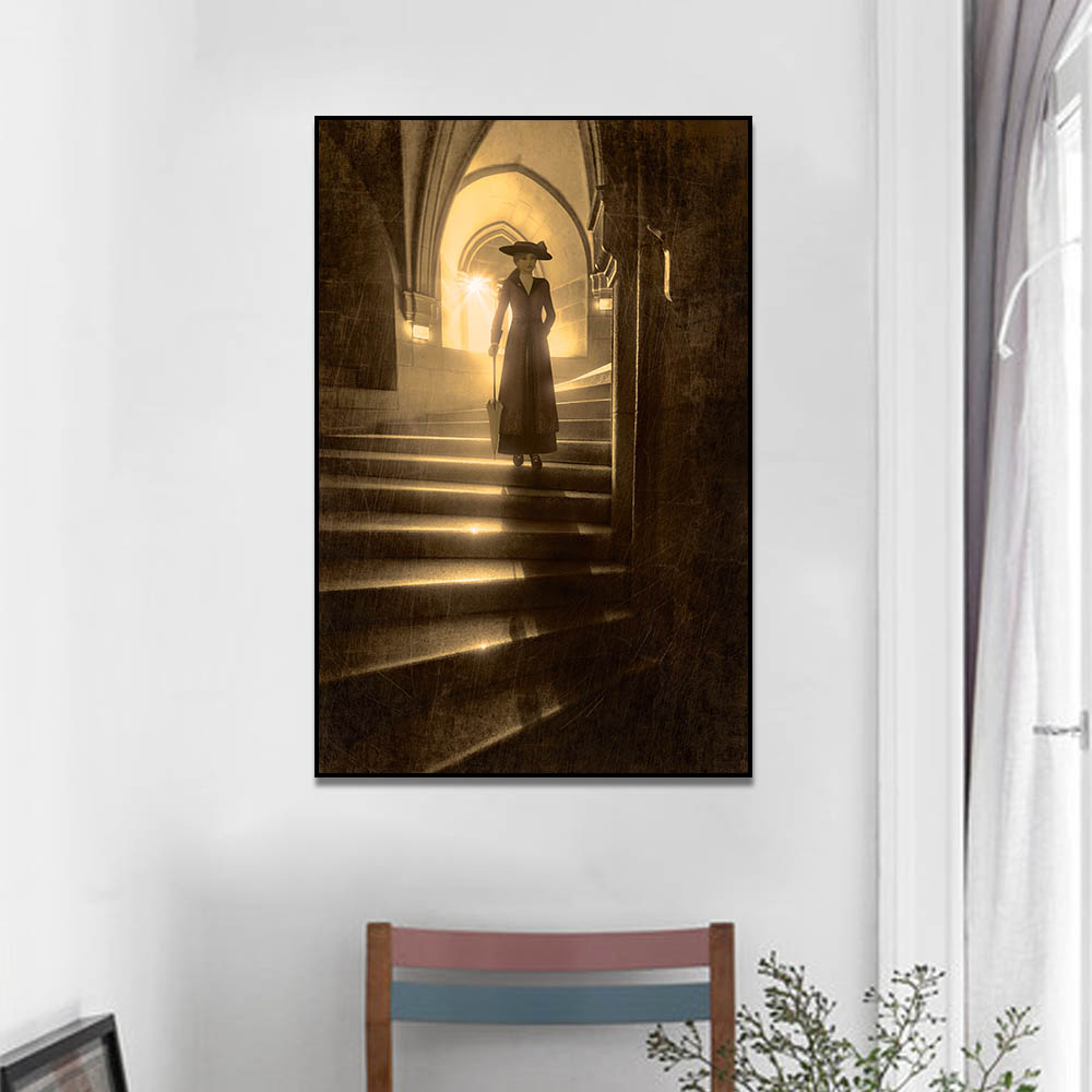 Unframed HD Canvas Prints Woman Holding Umbrella On Stairs Prints Wall Pictures For Living Room Wall Art Decoration Dropshipping
