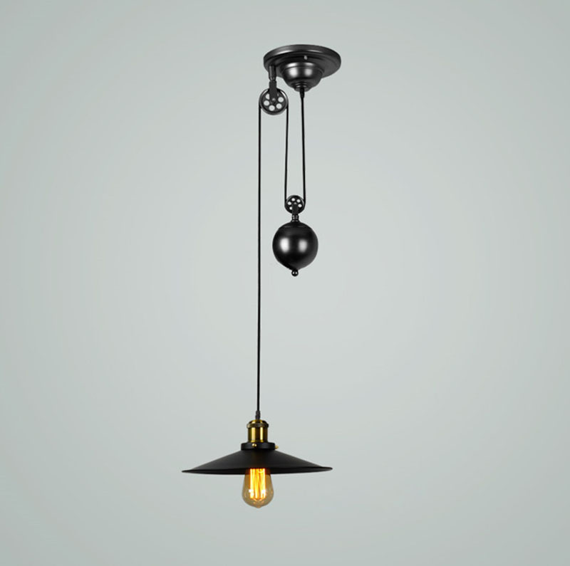 E27 Edison Bulb lamp Loft Vintage Industrial Retro Iron Pulley pendant light Loft Vintage Retro Wrought Iron Black pendant lamps iron modern pendant light wrought iron cage droplight vintage pendant lamps foyer lamp loft light black white e27 85 260v