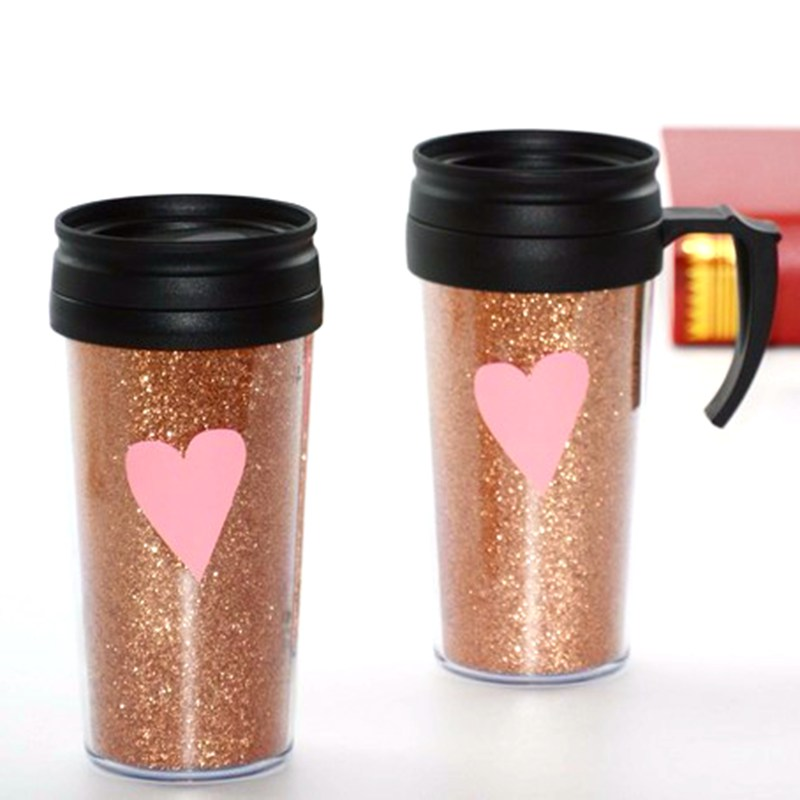 US $50 0 |double wall plastic mug with handle outdoor thermal bottle auto  trophy travel mug car cups gift tumbler office mug (set of 5)-in Mugs from