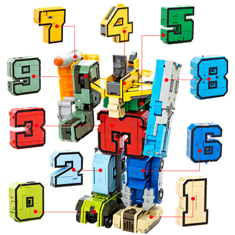 цена 10Pcs Action Figure Transformation Number Robot Deformation Robot Digital Creative Blocks Educational Blocks Toy For Children