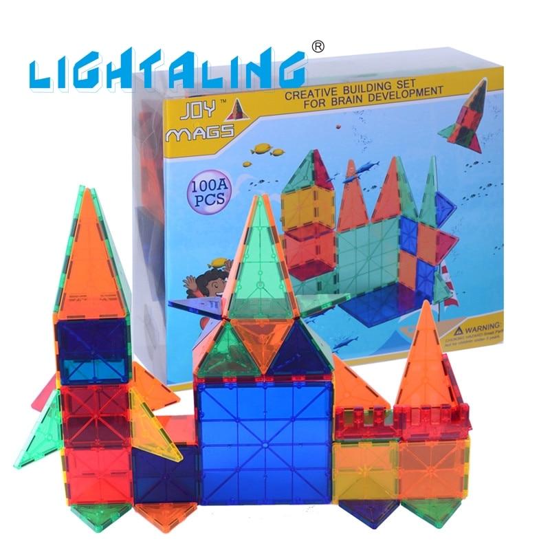 Lightaling Magnetic font b Toys b font 100pcs Building Tiles Blocks Brick Kids Learning Machine Children