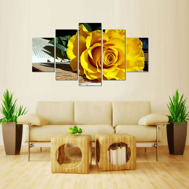 Online Shop New 5 Pieces/sets Canvas Art 5 panels Beautiful Yellow ...
