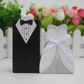 10pcs /lots Bride And Groom Dresses Wedding Candy Box Gifts Favor Box Wedding Bonbonniere DIY Event Party Supplies image