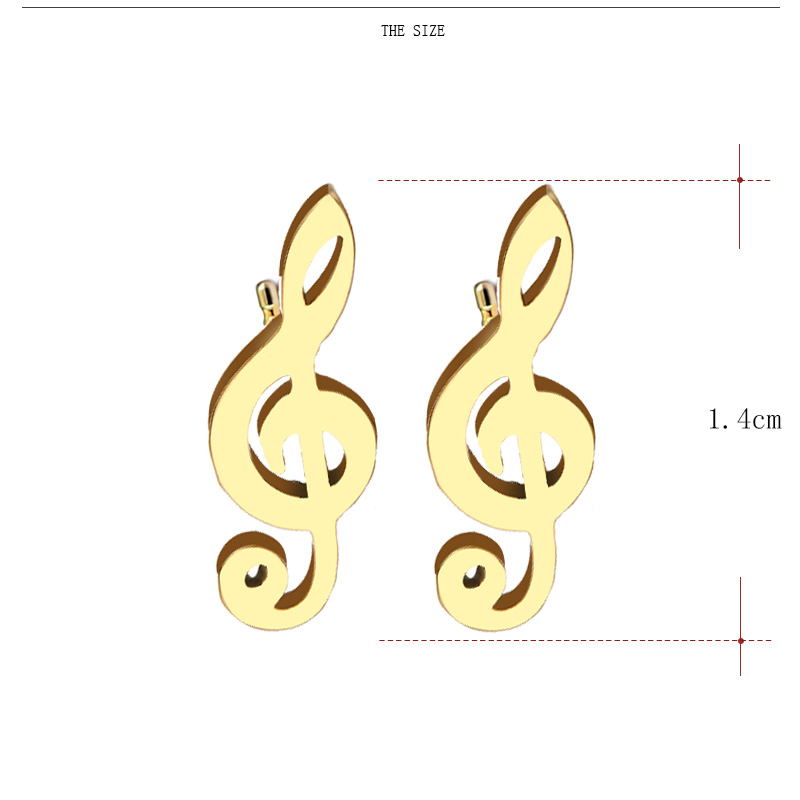 Cacana Stainless Steel Stud Earring Music Treble Clef 004