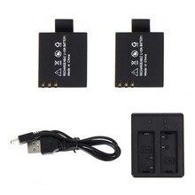 2 pcs 3.7 V 900 mAh Bateria + Carregador de Bateria Duplo para SJCAM SJ4000 SJ5000 SJ6000 SJ 4000 5000 Câmera acessórios