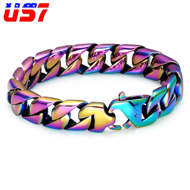 US7 Cool Mens Curb Link Wheat Chain Rainbow Bracelet Heavy Stainless Steel Hip Hop Bangles Bracelets for Men Jewelry Pulseras 7seas motocycle men bracelets bangles casual link chain stainless steel 4 color biker bicycle jewelry bracelet for man 7s781