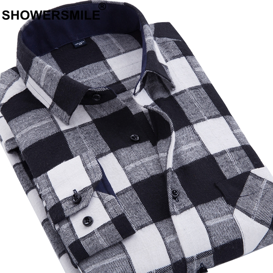 22adbfba3bf06 SHOWERSMILE Red Checkered Shirt Plus Size Long Sleeves Men s Casual Shirts  Autumn Slim Fit Male Black White Plaid Shirt 3XL 4XL-in Casual Shirts from  Men s ...