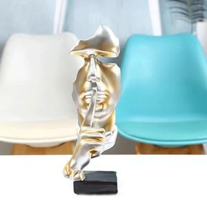 Image 5 - VILEAD 28.5cm reçine sessizlik, altın heykeli soyut maske heykelcikler avrupa maskesi heykel heykelcik ofis eski ev dekor