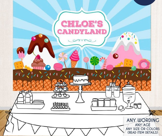 Custom Candyland First Birthday Cake Backdrops High Quality Computer Print Party Photography Studio Background