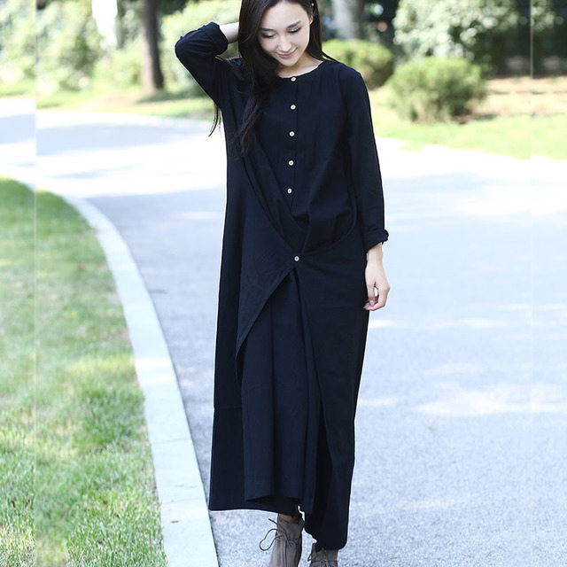 Black Long sleeve Linen Cotton Women long Dress Novelty design Plus size Autumn Winter Dress Mori girl Rope Gown Dresses 3004