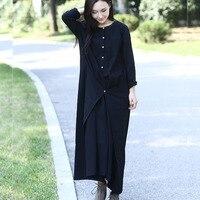 Siyah uzun kollu keten pamuk kadınlar uzun dress yenilik tasarım artı boyutu sonbahar kış dress mori kız halat elbisesi elbiseler 3004