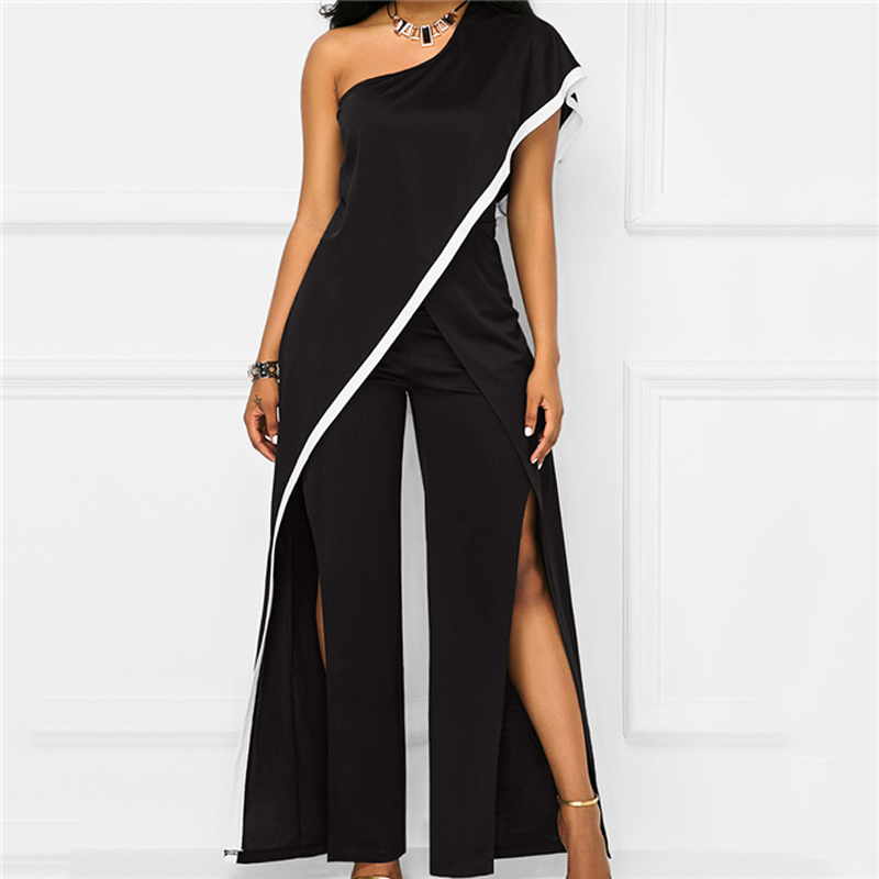 Fashion Black One Shoulder Wide Leg   Jumpsuits   Women Sexy Split High Waist Party Rompers Elegant Ladies Long Playsuits Overalls