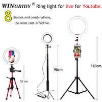 Anillo de luz LED 16cm 26cm 5600K 64 LEDs Selfie anillo lámpara iluminación fotográfica con trípode soporte para teléfono enchufe USB estudio fotográfico