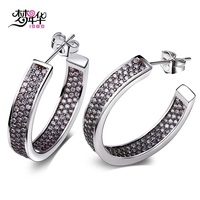 Dreamcarnival1989 Brand New Design Hoop Earrings for Women Rhodium color Synthetic Cz Anniversary jewelry Gift Holiday Jewels