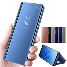 Smart Mirror Flip Phone Case For Samsung Galaxy Note 10 Pro S10 5G Plus 9 S9 S8 A30 A50 A70 A6 A7 A9 2018 Leather