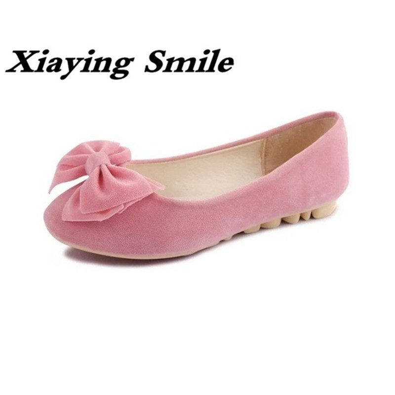 Xiaying Smile Woman Flats Shoes Women Loafers Spring Summer Casual Slip On Lady Style Sweet Bowtie Round Toe Flock Women Shoes xiaying smile summer new woman sandals platform women pumps buckle strap high square heel fashion casual flock lady women shoes