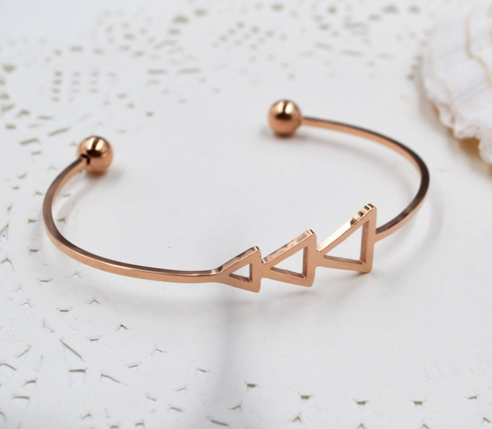 HFYK 2018 fashion triangle rose gold color bangles for women girl top quality stainless steel bracelets pulseras mujer bileklik