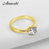 100 Real 10k Solid Yellow Gold Bague Luxury 1 Carat Sona Simulated Diamond Brand Vintage Rings