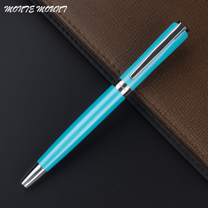 1pc/lot MONTE MOUNT Blue Pen Silver Clip Roller Ball Pens School Supplies Stationery creative golf club style pen holder with mini blue ball pen golfball silver