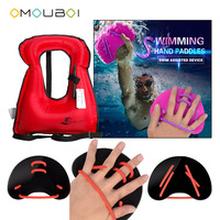 OMOUBOI Water Sports PPE Black Plastic Hand Web Fins Paddles With Horse Collar Style Red Inflatable Life Saving Buoyancy Vest
