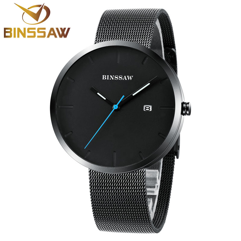 ad47f52062d BINSSAW Mens Watches Top Brand Luxury Pure Men All Black Watch Stainless  Steel Wrist Watches Ultra thin Thin Fashion Slim Watch-in Quartz Watches  from ...