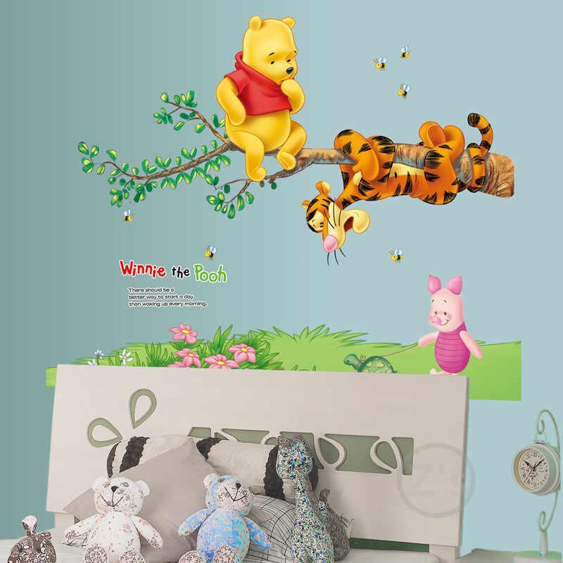 Zs Sticker Winnie The Pooh Wall Sticker Home Decor Cartoon Wall Decal For Kids Room Decal Baby Vinyl Mural Nursery